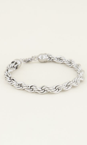 armband twisted schakel zilver
