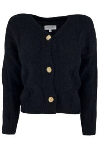 Cable Cardigan Button Black