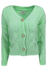 Cable Cardigan Button Green