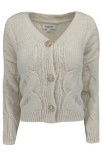 Cable Cardigan Button White