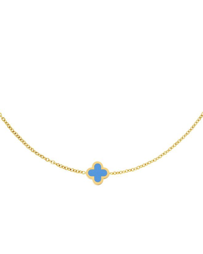 Necklace Colored Clover Blue