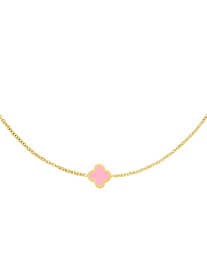 Necklace Colored Clover Pink